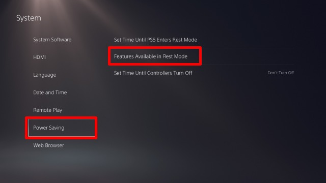 rest mode features ps5