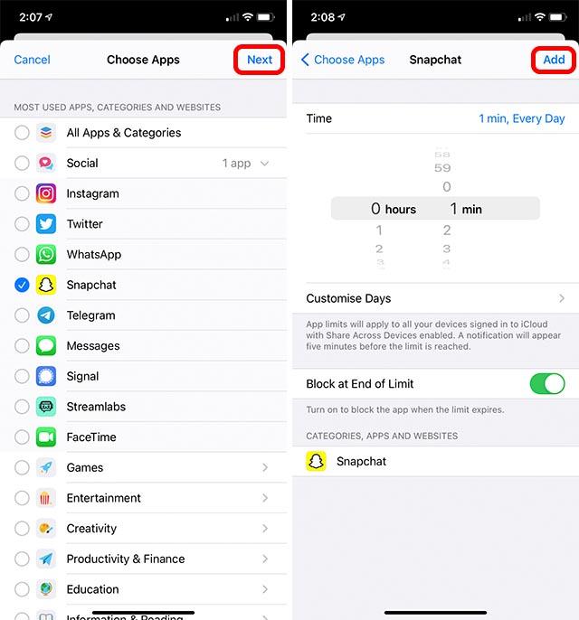 snapchat için ekran süresi sınırı
