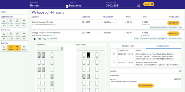 seat selection page irctc bus