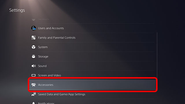 settings accessories ps5
