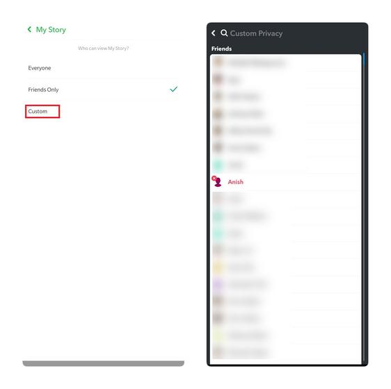 snapchat custom privacy