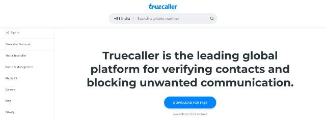 truecaller phone number lookup
