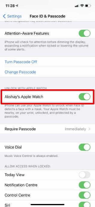 используйте Apple Watch, чтобы разблокировать iPhone