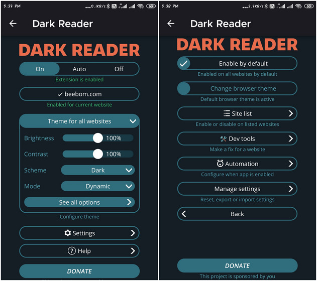 Dark reader best Firefox for Android add-on