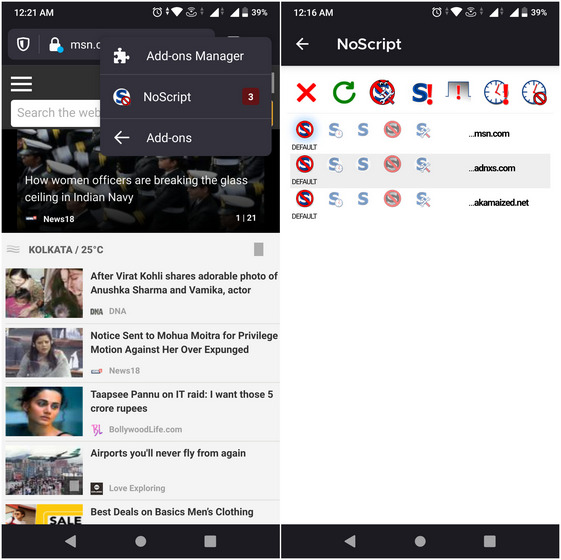 NoScript Best Firefox add-on for Android