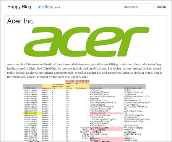 Acer ransomware attack