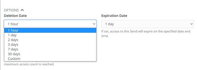 Выберите дату удаления