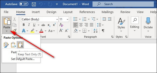 MS Word kopiert einfachen Text ohne Formatierung