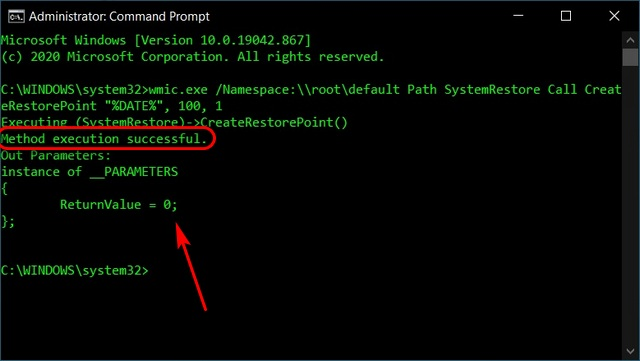 Create System Restore Points Using Command Prompt
