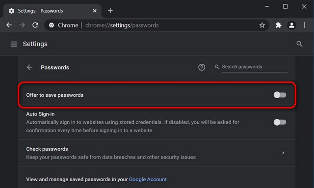 Disable Built-in Password Manager in Chrome