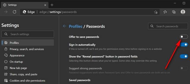 Отключить встроенный менеджер паролей в Edge Chromium