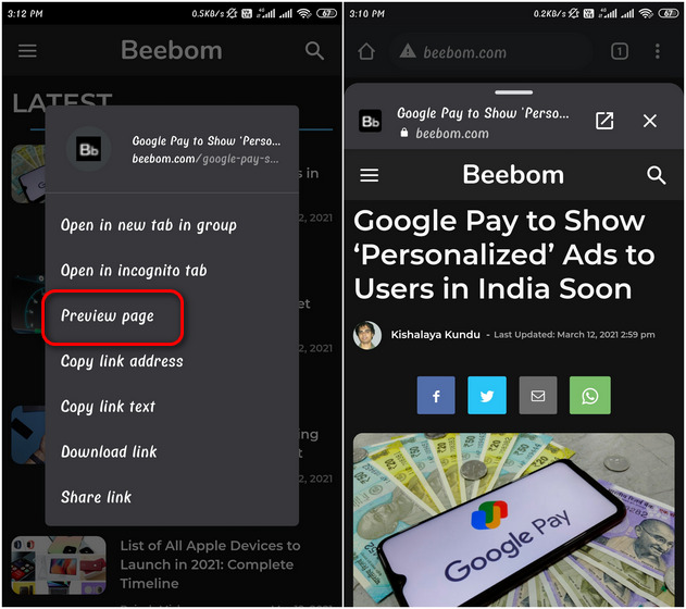 Google Chrome on Android Now Lets You 'Preview' Webpages