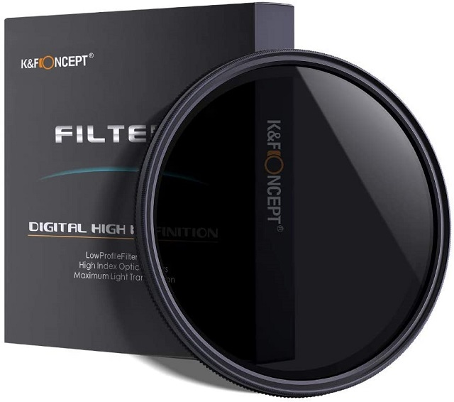 K&F Concept 77mm Ultra Slim ND2-ND400 Fader Variable Neutral Density Adjustable Lens Filter