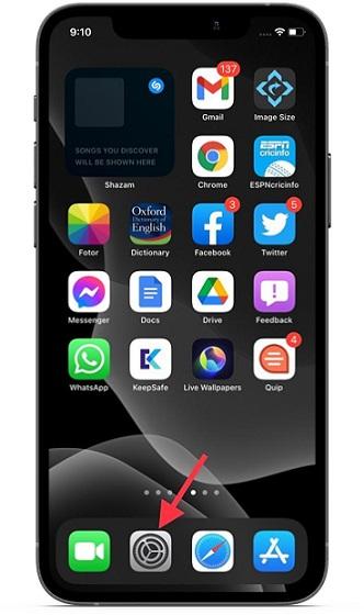 Open Settings app on iOS