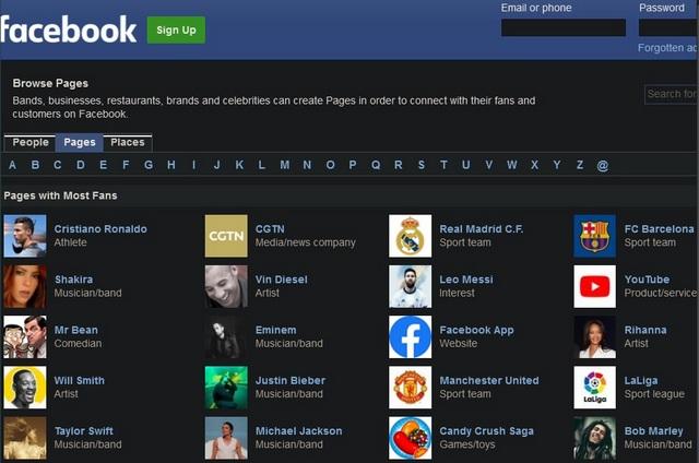 Каталог Facebook: поиск без учетной записи