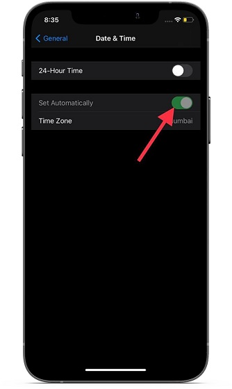 Set your time zone correctly on iOS