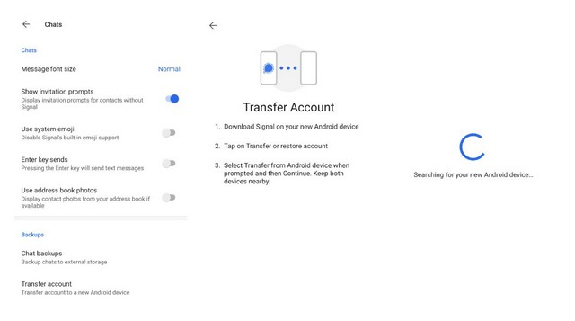 Signal new tranfer account feature