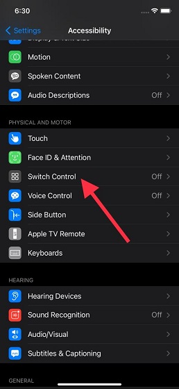 Tap on Switch Control on iPhone