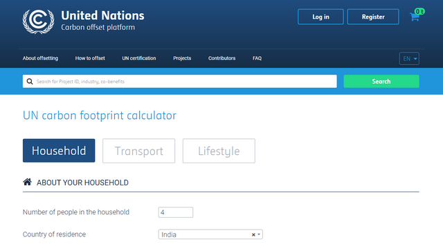 UN carbon footprint calculator