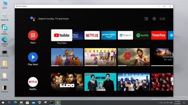 android tv on windows 10 pc