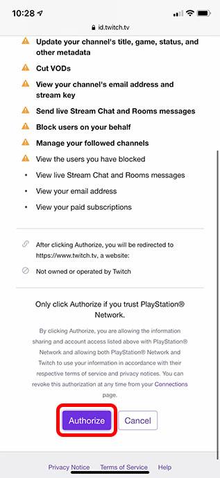 authorize twitch