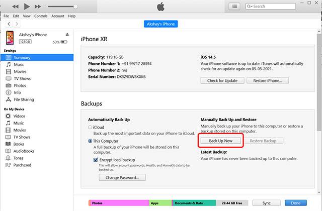 backup iphone itunes windows pc