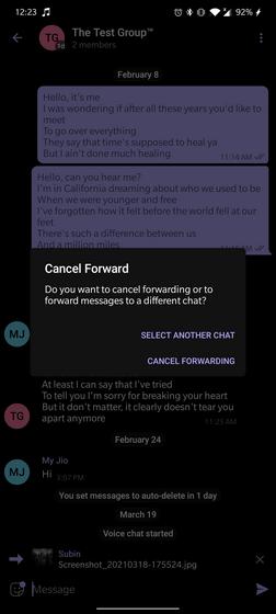 cancel when forwarding telegram messages