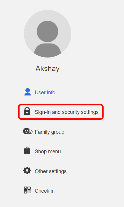 click on sign in and security settings