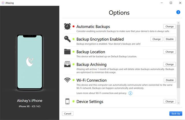 imazing iphone backup windows pc settings