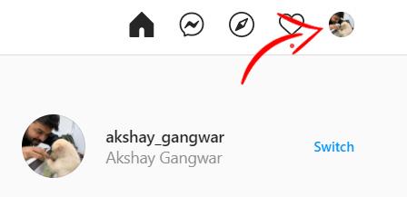 instagram click profile icon