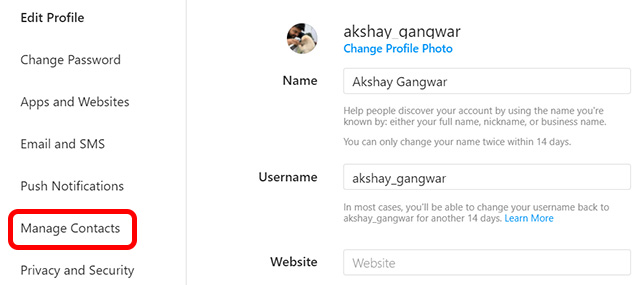 instagram web manage contacts