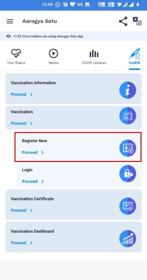 register for covid-19 vaccine india