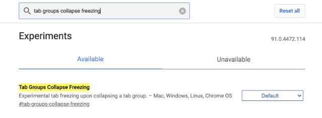 tab groups collapse freezing chrome flag
