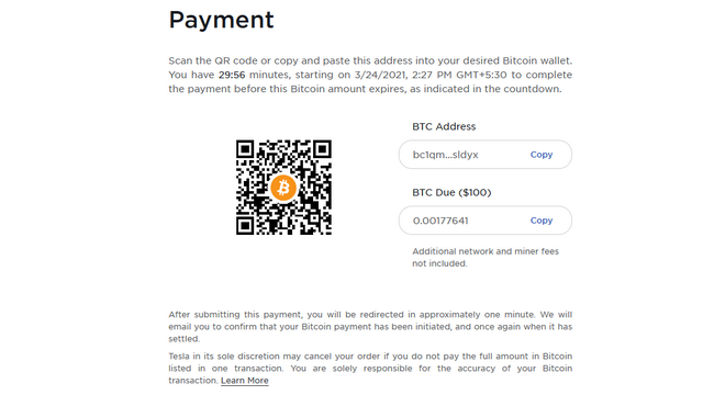 tesla bitcoin payments page