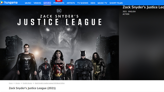 zack snyder's justice league hungama play
