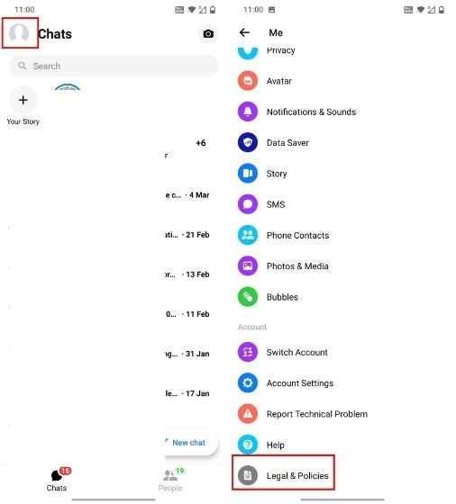 Deactivate Messenger on iOS and Android