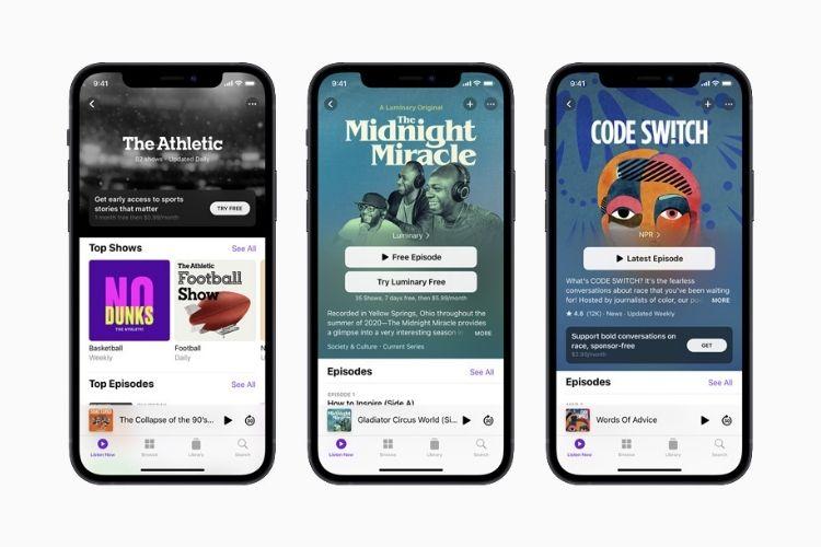 كشف النقاب عن خدمة الاشتراك في Apple Podcasts ؛ التطبيق يحصل على تجميل بصري