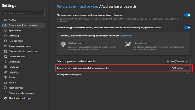 Change Search Engine in New Tab Page