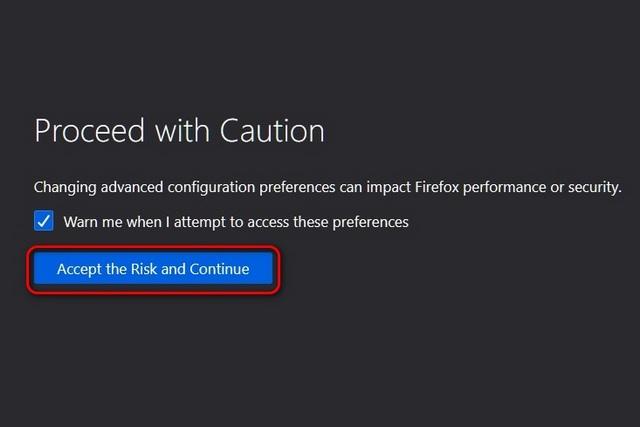 Firefox о: предупреждение о конфигурации