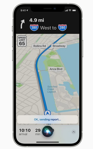 Incident reporting in Apple Maps