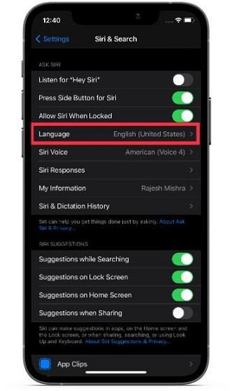 Make sure English language is selected
