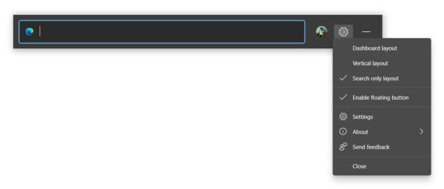 Microsoft Edge arama widget'ları