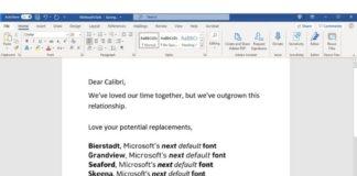 Microsoft next default font