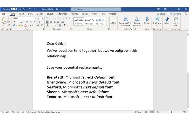 Microsoft next default font feat fin