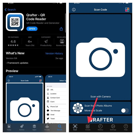 Qrafter QR Code reader app - Share Wi-Fi password from iPhone to Android