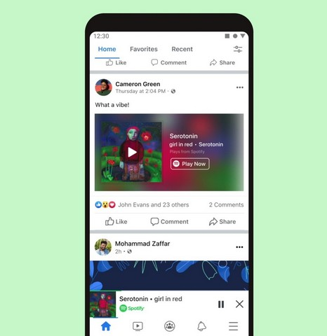Spotify mini player in Facebook