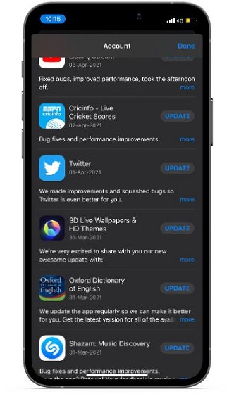 Update apps on iOS