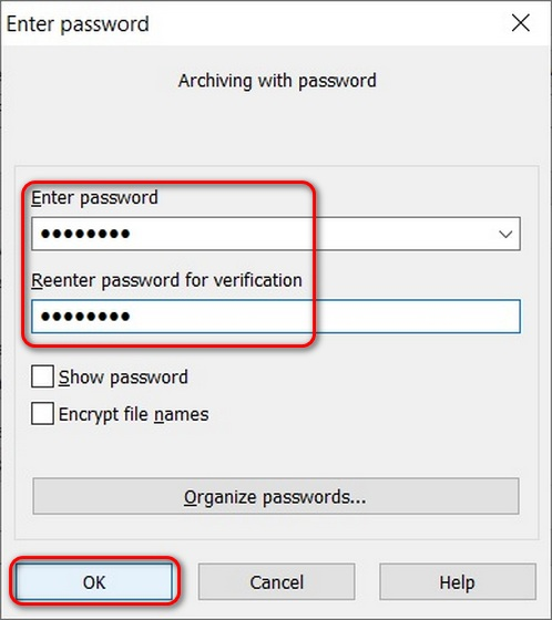 Use WinRAR to password protect folders in Windows 10