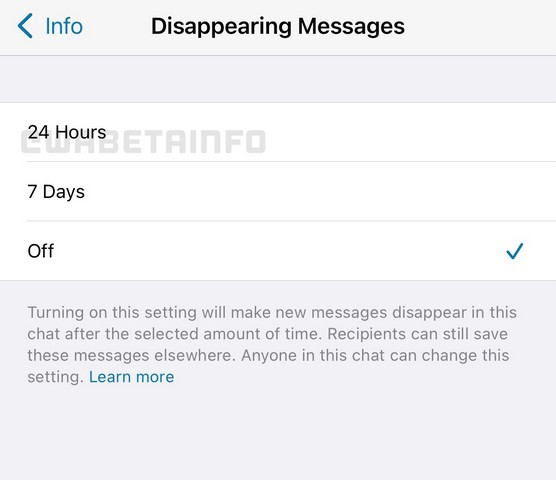 WhatsApp disappearing messages 24 hours option