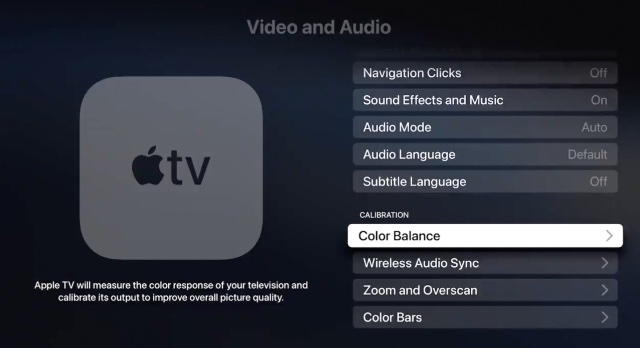 apple tv video calibration settings